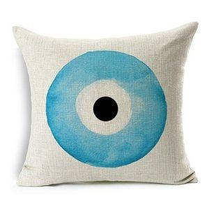 Evil eye pillow case Quality zipper Cotton linen